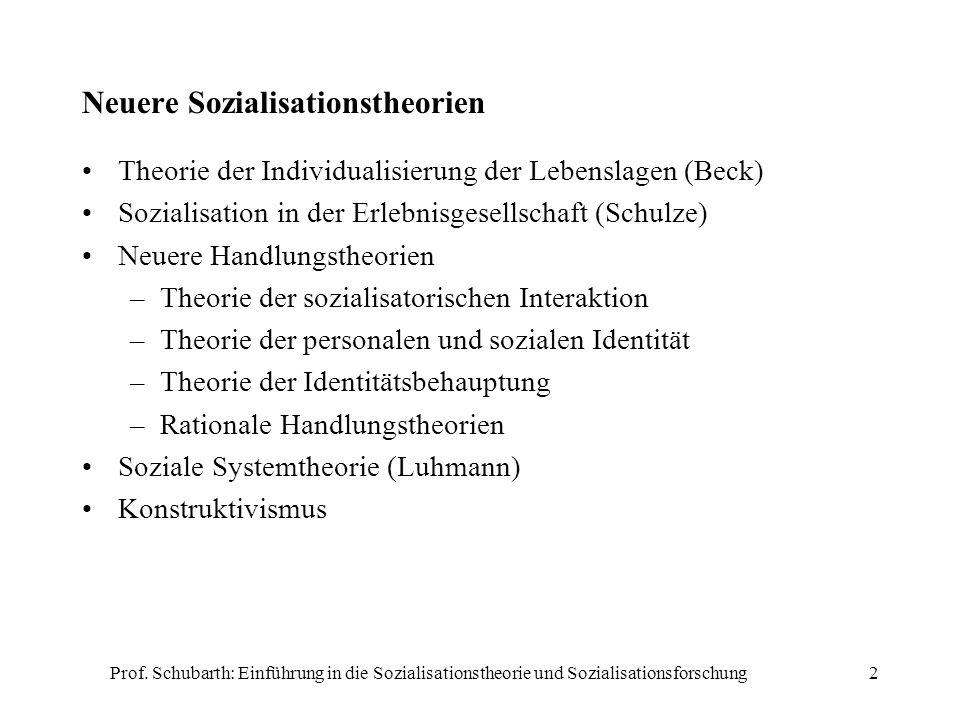 Prof. Schubarth: Einführung in die Sozialisationstheorie und Sozialisationsforschung2 Neuere Sozialisationstheorien Theorie der Individualisierung der