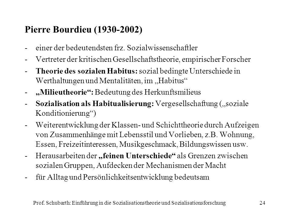 Prof. Schubarth: Einführung in die Sozialisationstheorie und Sozialisationsforschung24 Pierre Bourdieu (1930-2002) -einer der bedeutendsten frz. Sozia