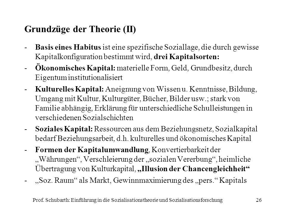 Prof. Schubarth: Einführung in die Sozialisationstheorie und Sozialisationsforschung26 Grundzüge der Theorie (II) -Basis eines Habitus ist eine spezif