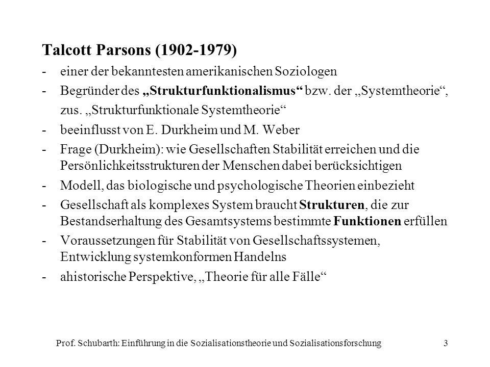 Prof. Schubarth: Einführung in die Sozialisationstheorie und Sozialisationsforschung3 Talcott Parsons (1902-1979) -einer der bekanntesten amerikanisch