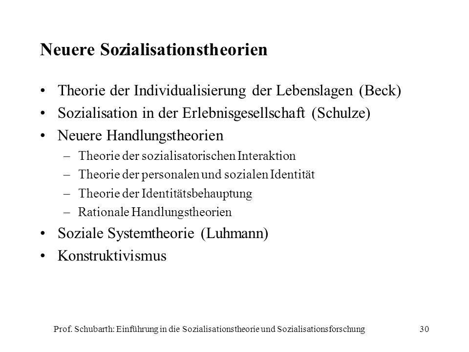 Prof. Schubarth: Einführung in die Sozialisationstheorie und Sozialisationsforschung30 Neuere Sozialisationstheorien Theorie der Individualisierung de