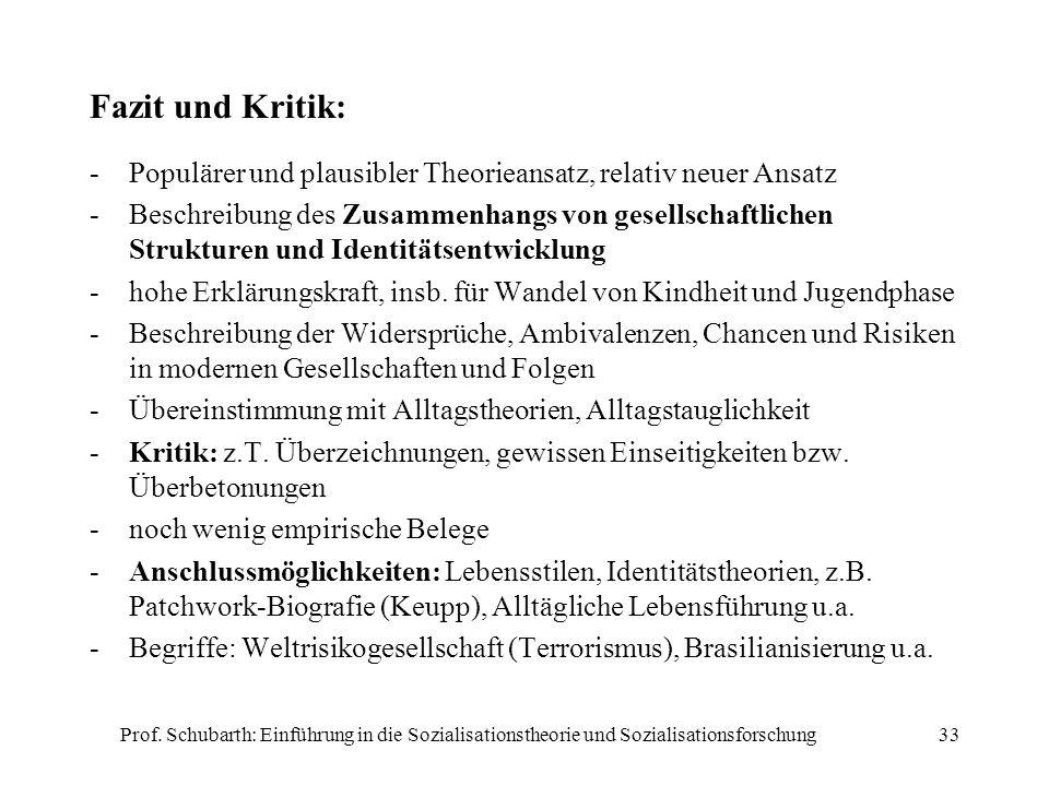 Prof. Schubarth: Einführung in die Sozialisationstheorie und Sozialisationsforschung33 Fazit und Kritik: -Populärer und plausibler Theorieansatz, rela