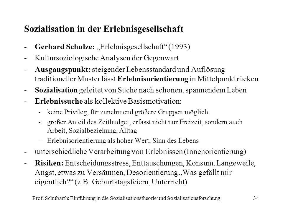 Prof. Schubarth: Einführung in die Sozialisationstheorie und Sozialisationsforschung34 Sozialisation in der Erlebnisgesellschaft -Gerhard Schulze: Erl