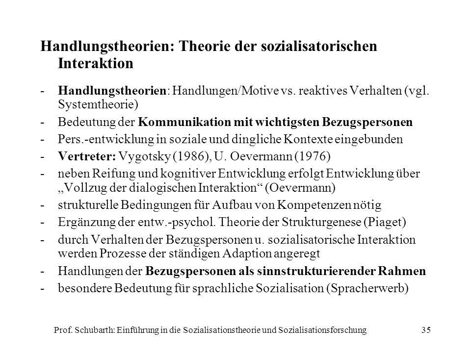 Prof. Schubarth: Einführung in die Sozialisationstheorie und Sozialisationsforschung35 Handlungstheorien: Theorie der sozialisatorischen Interaktion -
