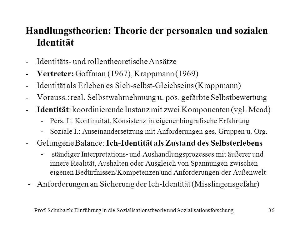 Prof. Schubarth: Einführung in die Sozialisationstheorie und Sozialisationsforschung36 Handlungstheorien: Theorie der personalen und sozialen Identitä