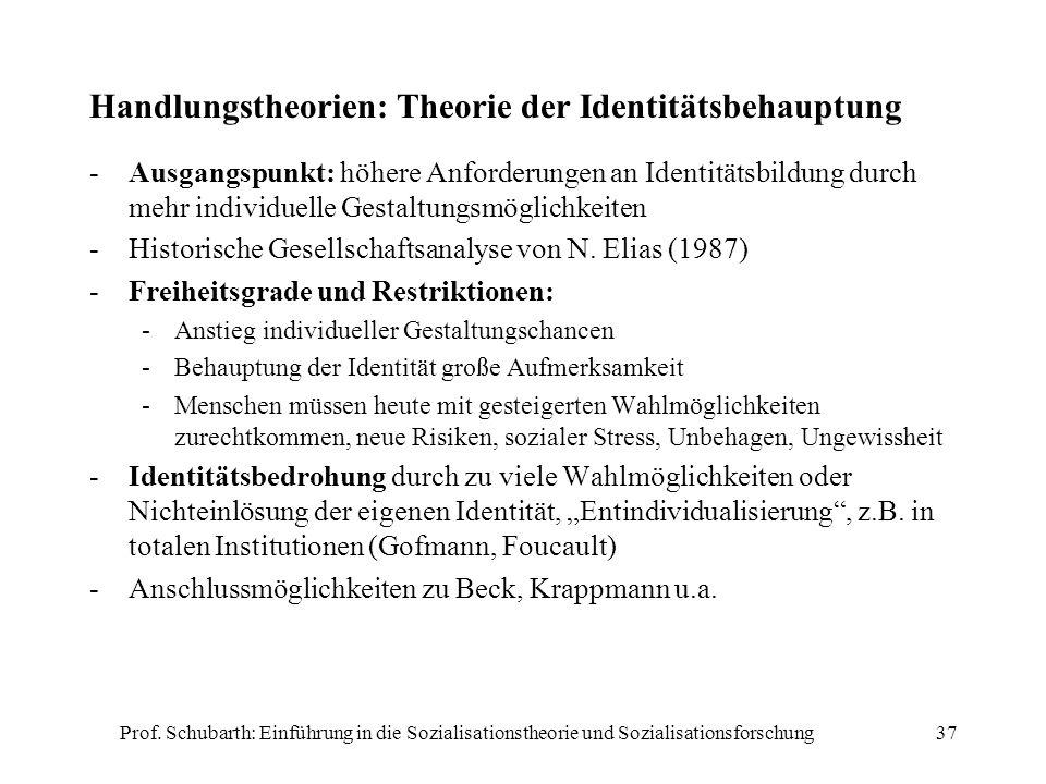 Prof. Schubarth: Einführung in die Sozialisationstheorie und Sozialisationsforschung37 Handlungstheorien: Theorie der Identitätsbehauptung -Ausgangspu