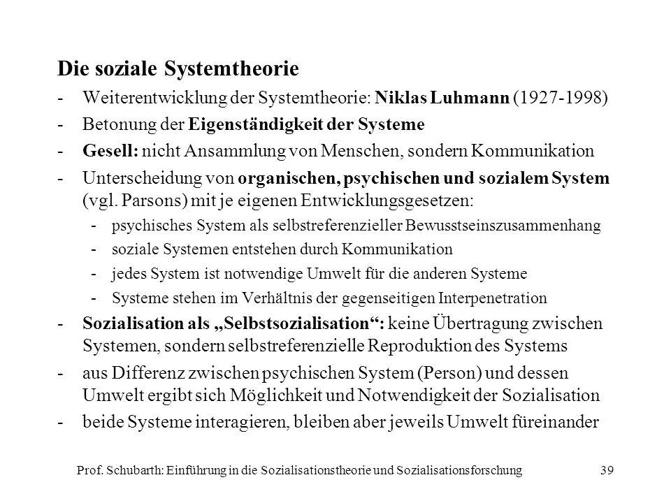 Prof. Schubarth: Einführung in die Sozialisationstheorie und Sozialisationsforschung39 Die soziale Systemtheorie -Weiterentwicklung der Systemtheorie:
