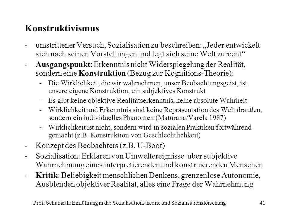 Prof. Schubarth: Einführung in die Sozialisationstheorie und Sozialisationsforschung41 Konstruktivismus -umstrittener Versuch, Sozialisation zu beschr