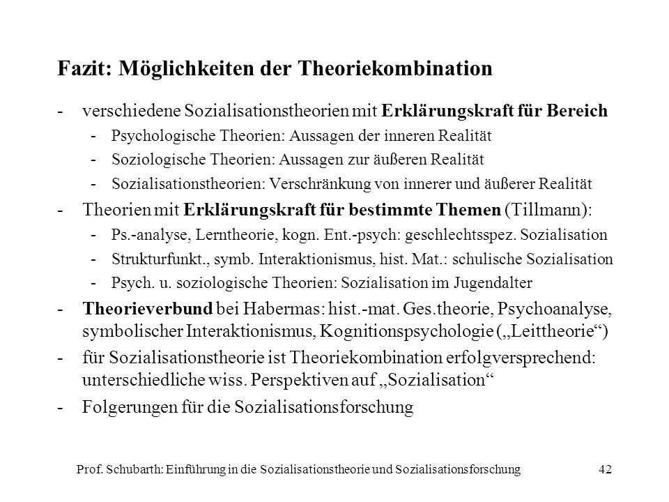 Prof. Schubarth: Einführung in die Sozialisationstheorie und Sozialisationsforschung42 Fazit: Möglichkeiten der Theoriekombination -verschiedene Sozia
