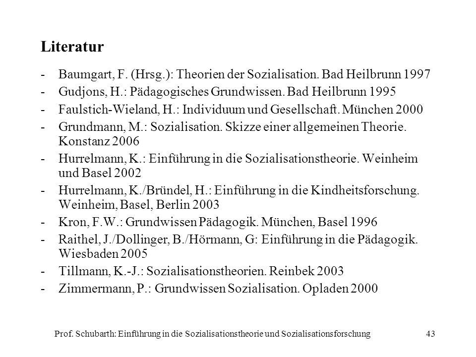 Prof. Schubarth: Einführung in die Sozialisationstheorie und Sozialisationsforschung43 Literatur -Baumgart, F. (Hrsg.): Theorien der Sozialisation. Ba
