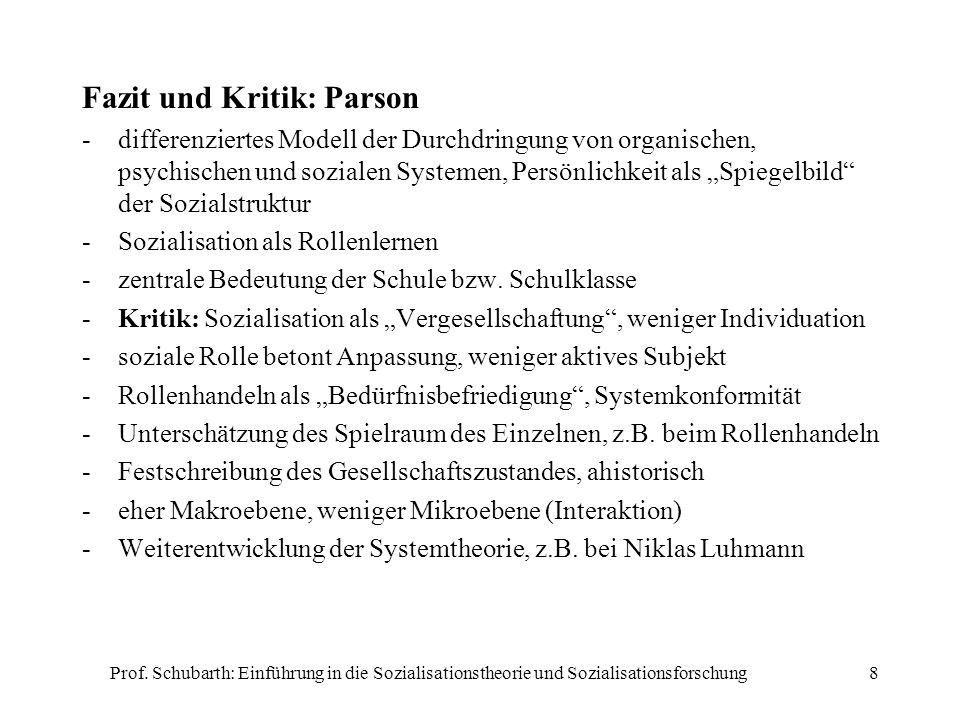 Prof. Schubarth: Einführung in die Sozialisationstheorie und Sozialisationsforschung8 Fazit und Kritik: Parson -differenziertes Modell der Durchdringu