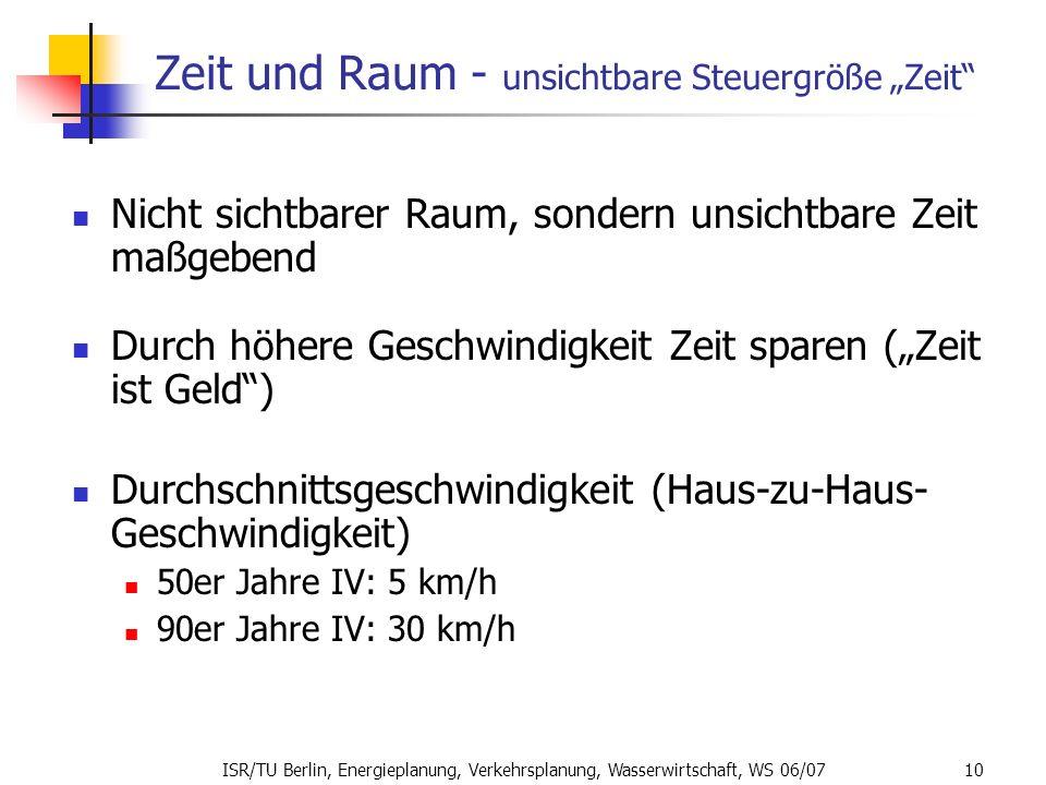 ISR/TU Berlin, Energieplanung, Verkehrsplanung, Wasserwirtschaft, WS 06/07 10 Zeit und Raum - unsichtbare Steuergröße Zeit Nicht sichtbarer Raum, sond