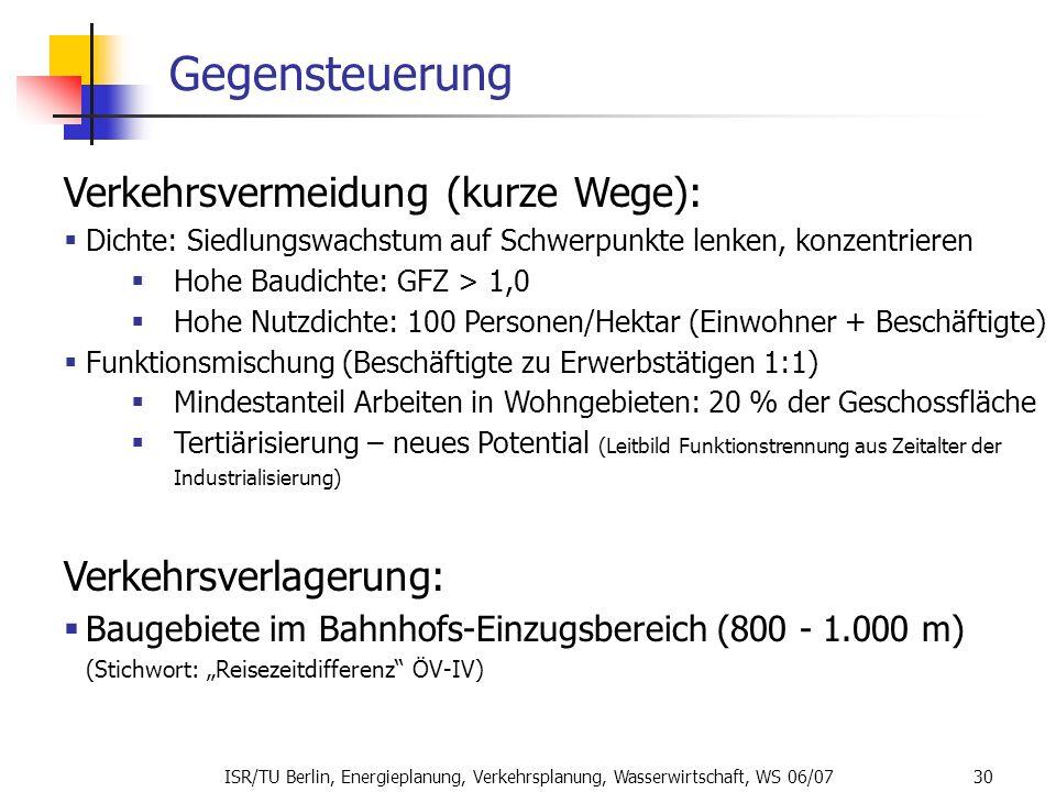 ISR/TU Berlin, Energieplanung, Verkehrsplanung, Wasserwirtschaft, WS 06/07 30 Gegensteuerung Verkehrsvermeidung (kurze Wege): Dichte: Siedlungswachstu