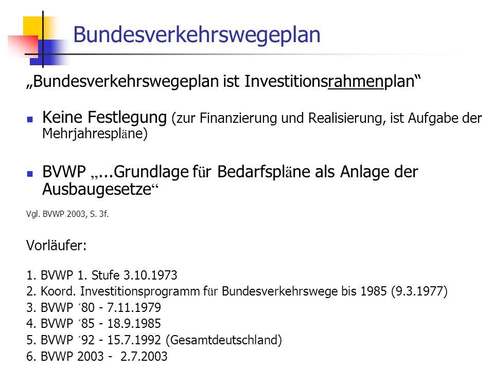 ISR/TU Berlin, Energieplanung, Verkehrsplanung, Wasserwirtschaft, WS 06/07 54 Bundesverkehrswegeplan Bundesverkehrswegeplan ist Investitionsrahmenplan