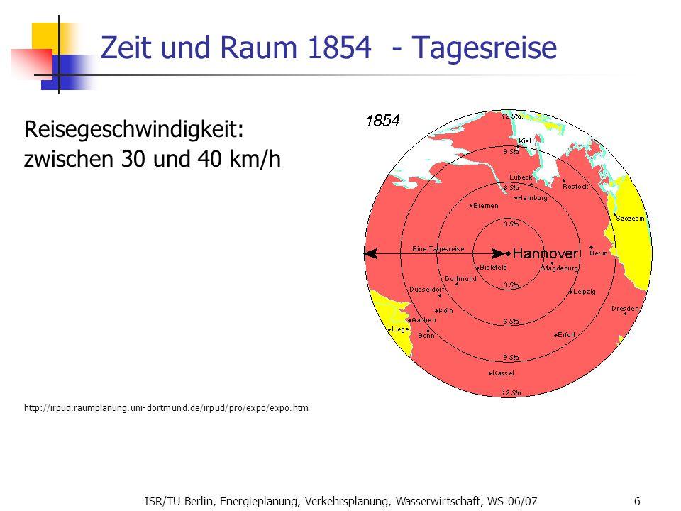 ISR/TU Berlin, Energieplanung, Verkehrsplanung, Wasserwirtschaft, WS 06/07 6 Zeit und Raum 1854 - Tagesreise Reisegeschwindigkeit: zwischen 30 und 40