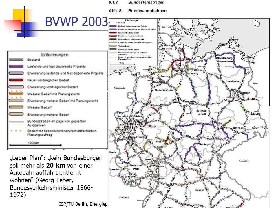 ISR/TU Berlin, Energieplanung, Verkehrsplanung, Wasserwirtschaft, WS 06/07 66 BVWP 2003 Leber-Plan: kein Bundesbürger soll mehr als 20 km von einer Au