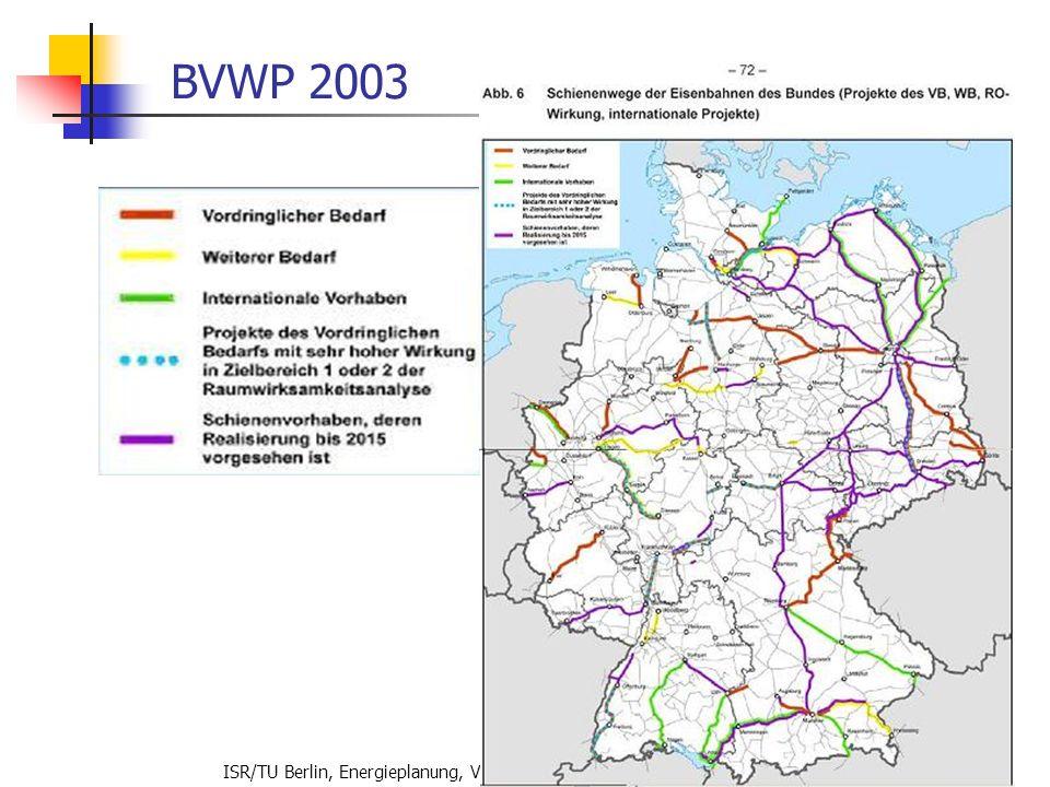 ISR/TU Berlin, Energieplanung, Verkehrsplanung, Wasserwirtschaft, WS 06/07 67 BVWP 2003