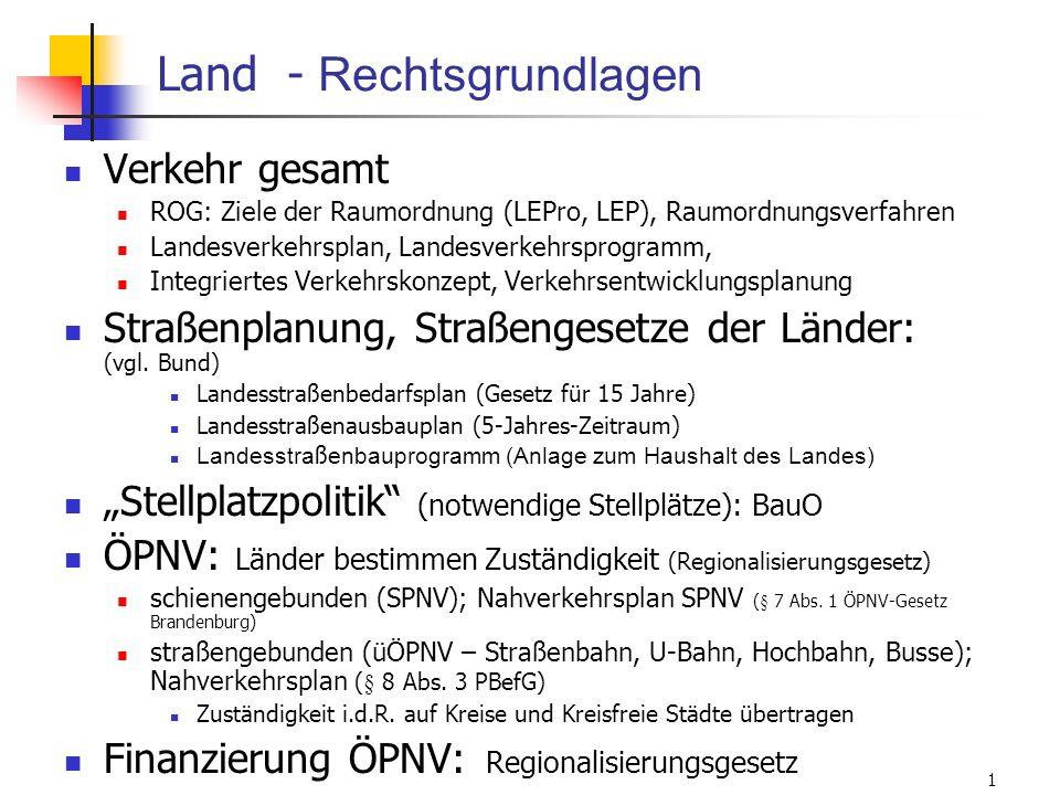 ISR/TU Berlin, Energieplanung, Verkehrsplanung, Wasserwirtschaft, WS 06/07 71 Land - Rechtsgrundlagen Verkehr gesamt ROG: Ziele der Raumordnung (LEPro