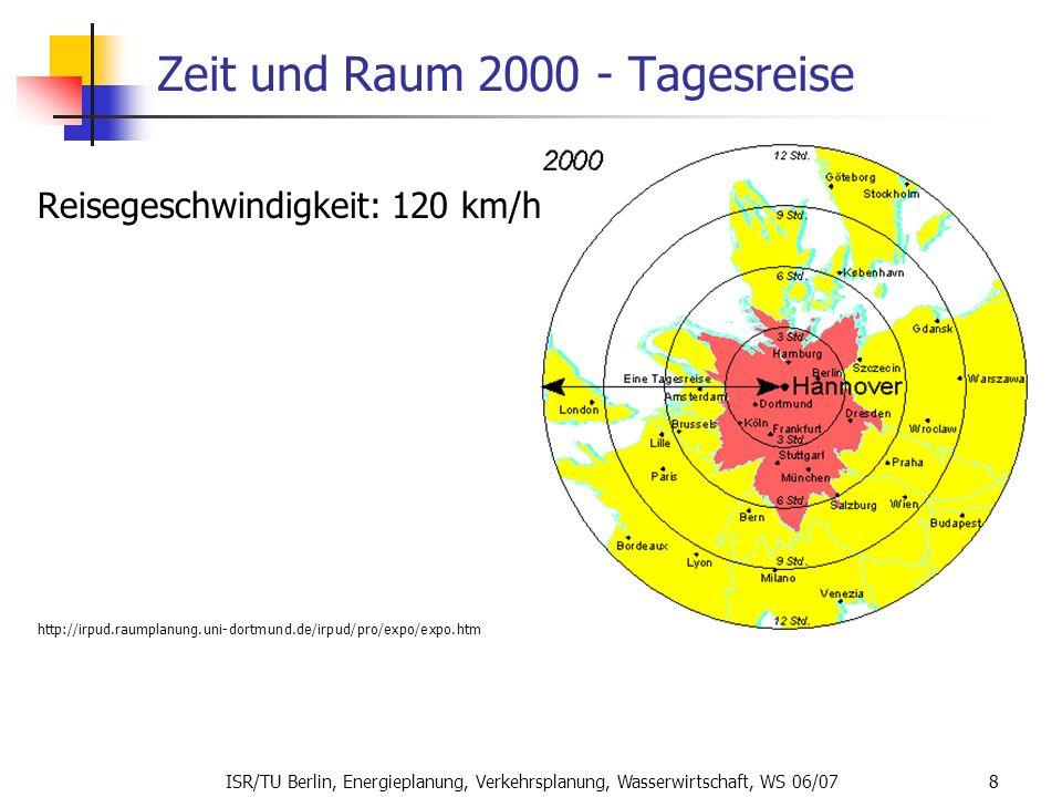 ISR/TU Berlin, Energieplanung, Verkehrsplanung, Wasserwirtschaft, WS 06/07 8 Zeit und Raum 2000 - Tagesreise Reisegeschwindigkeit: 120 km/h. http://ir