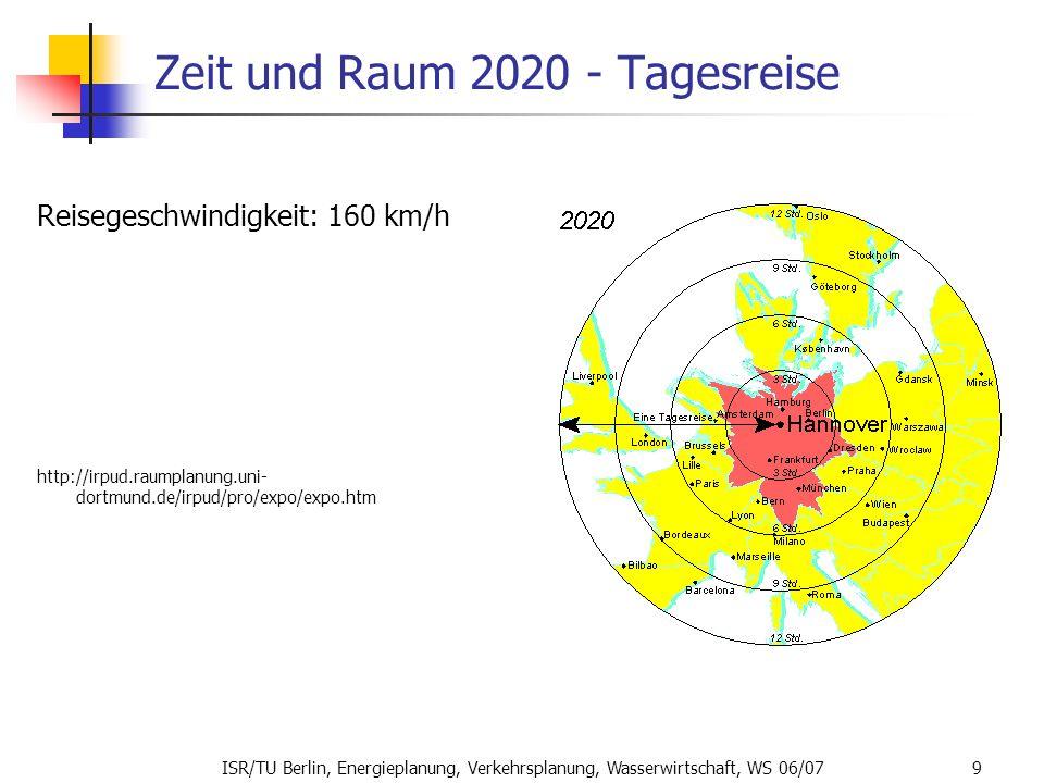 ISR/TU Berlin, Energieplanung, Verkehrsplanung, Wasserwirtschaft, WS 06/07 9 Zeit und Raum 2020 - Tagesreise Reisegeschwindigkeit: 160 km/h http://irp