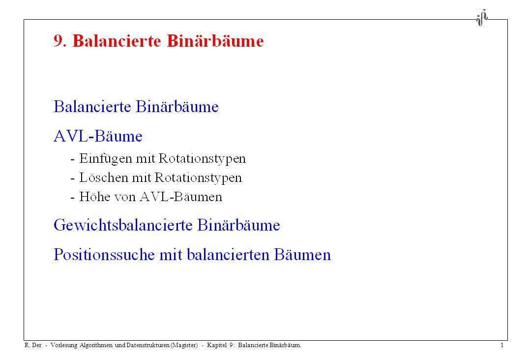 R. Der - Vorlesung Algorithmen und Datenstrukturen (Magister) - Kapitel 9: Balancierte Binärbäum.1