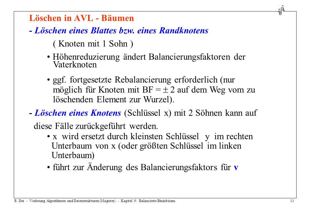 R. Der - Vorlesung Algorithmen und Datenstrukturen (Magister) - Kapitel 9: Balancierte Binärbäum.11 Löschen in AVL - Bäumen - Löschen eines Blattes bz