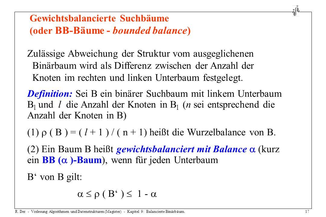 R. Der - Vorlesung Algorithmen und Datenstrukturen (Magister) - Kapitel 9: Balancierte Binärbäum.17 Gewichtsbalancierte Suchbäume (oder BB-Bäume - bou