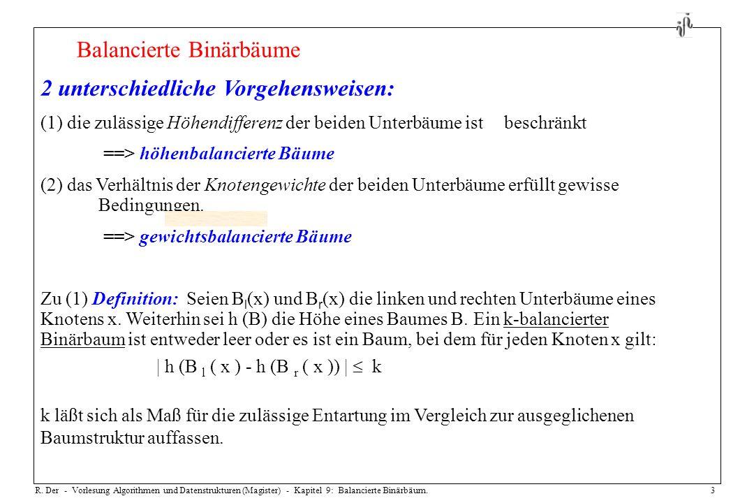 R. Der - Vorlesung Algorithmen und Datenstrukturen (Magister) - Kapitel 9: Balancierte Binärbäum.3 Balancierte Binärbäume 2 unterschiedliche Vorgehens
