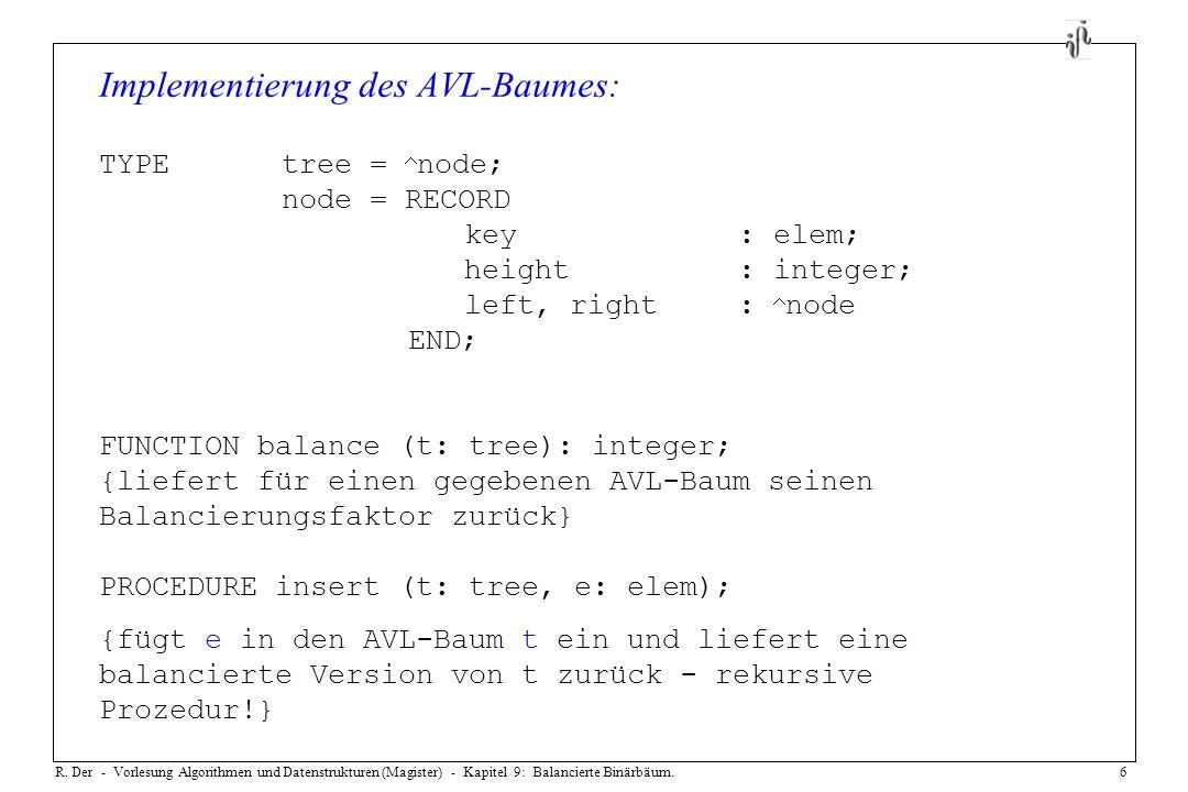 R. Der - Vorlesung Algorithmen und Datenstrukturen (Magister) - Kapitel 9: Balancierte Binärbäum.6 Implementierung des AVL-Baumes: TYPEtree = node; no