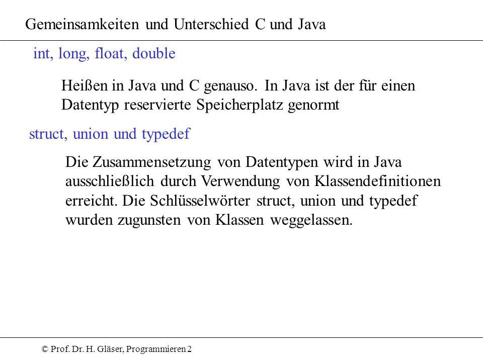 © Prof. Dr. H. Gläser, Programmieren 2 Gemeinsamkeiten und Unterschied C und Java int, long, float, double Heißen in Java und C genauso. In Java ist d