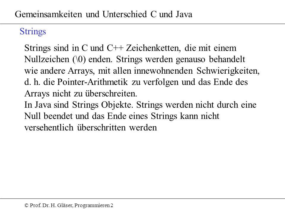 © Prof. Dr. H. Gläser, Programmieren 2 Gemeinsamkeiten und Unterschied C und Java Strings Strings sind in C und C++ Zeichenketten, die mit einem Nullz