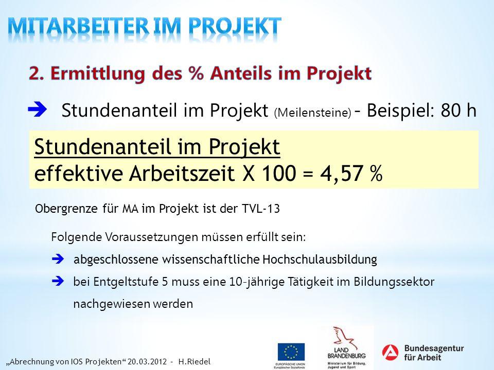 Stundenanteil im Projekt (Meilensteine) - Beispiel: 80 h Stundenanteil im Projekt effektive Arbeitszeit X 100 = 4,57 % Abrechnung von IOS Projekten 20