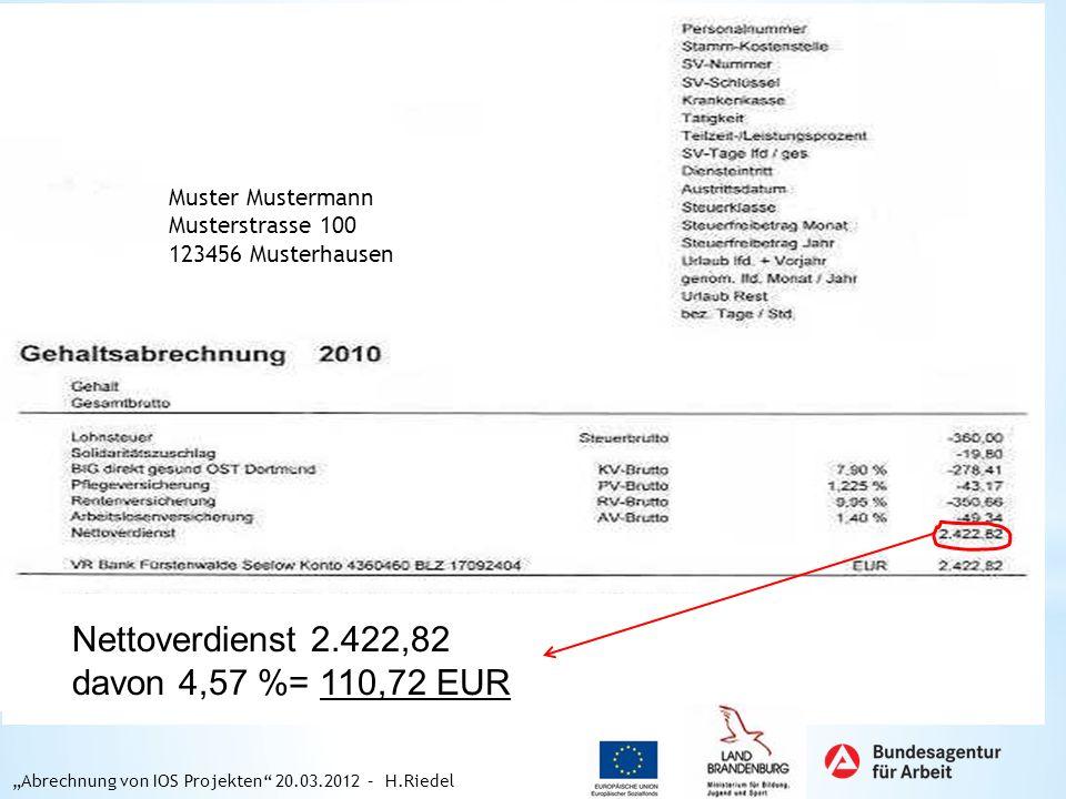 Muster Mustermann Musterstrasse 100 123456 Musterhausen Nettoverdienst 2.422,82 davon 4,57 %= 110,72 EUR Abrechnung von IOS Projekten 20.03.2012 – H.R