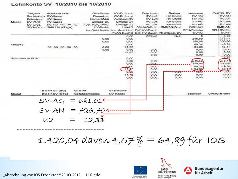 SV-AG = 681,01 SV-AN = 726,70 U2 = 12,33 -------------------------------- 1.420,04 davon 4,57 % = 64,89 für IOS Abrechnung von IOS Projekten 20.03.201