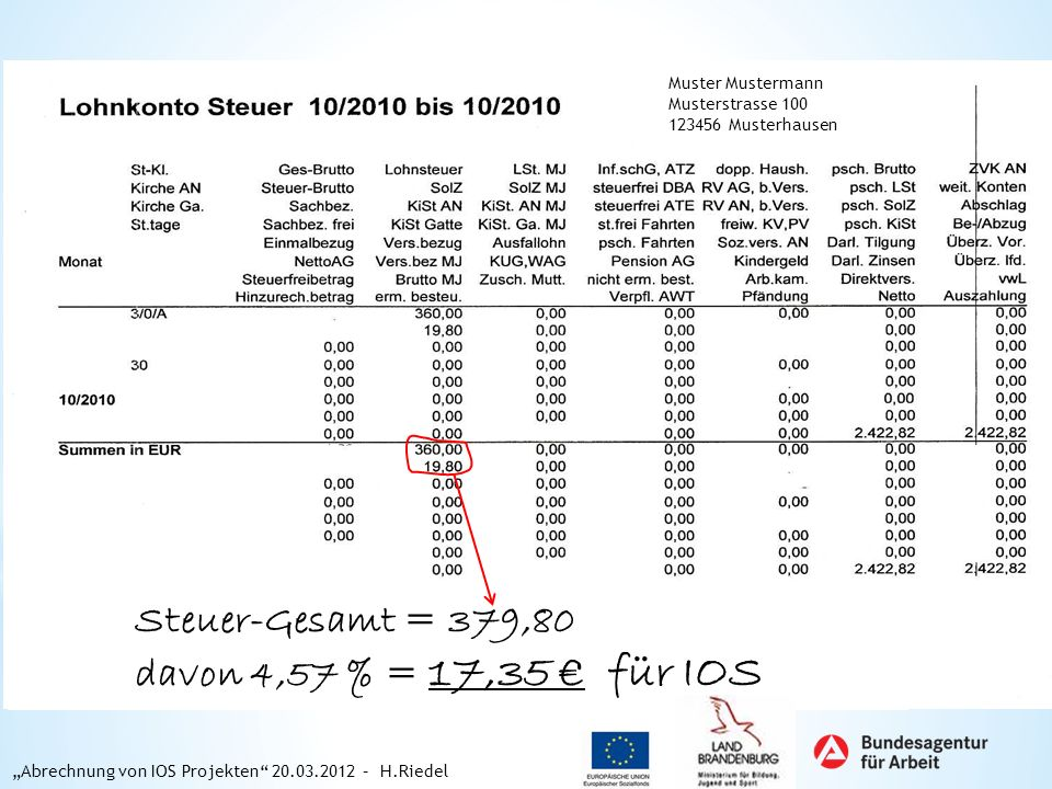 Muster Mustermann Musterstrasse 100 123456 Musterhausen Steuer-Gesamt = 379,80 davon 4,57 % = 17,35 für IOS Abrechnung von IOS Projekten 20.03.2012 –