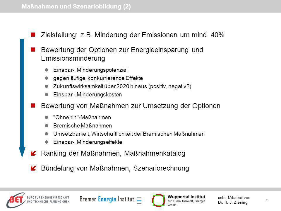 11 unter Mitarbeit von Dr. H.-J. Ziesing Maßnahmen und Szenariobildung (2) nZielstellung: z.B. Minderung der Emissionen um mind. 40% nBewertung der Op