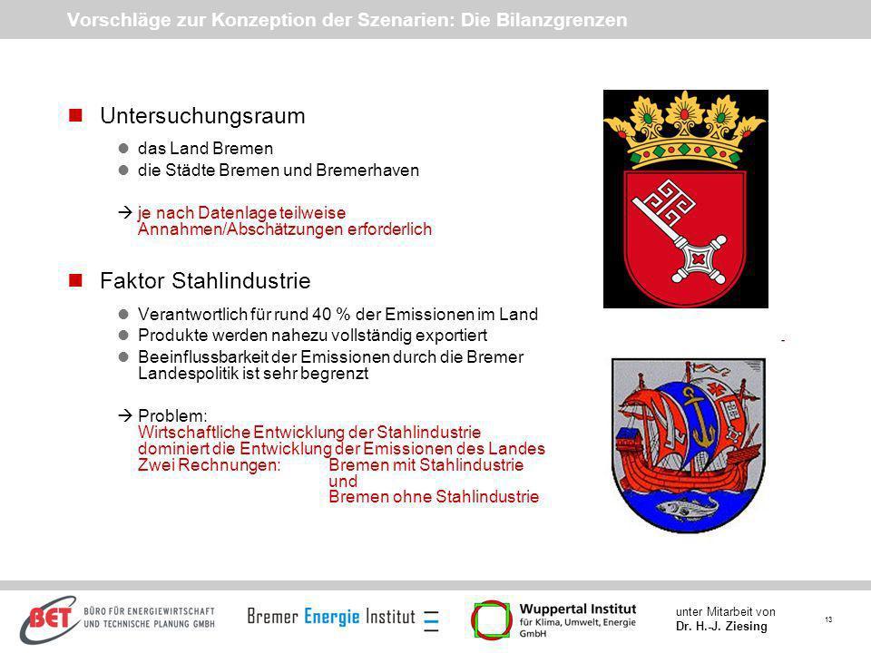 13 unter Mitarbeit von Dr. H.-J. Ziesing Vorschläge zur Konzeption der Szenarien: Die Bilanzgrenzen nUntersuchungsraum ldas Land Bremen ldie Städte Br