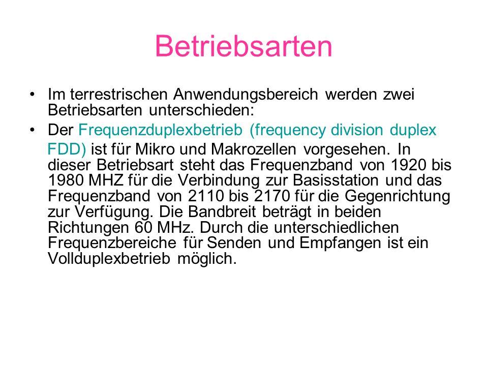 Betriebsarten Im terrestrischen Anwendungsbereich werden zwei Betriebsarten unterschieden: Der Frequenzduplexbetrieb (frequency division duplex FDD) i