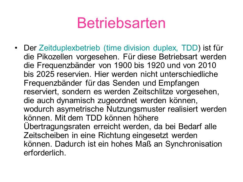 Betriebsarten Der Zeitduplexbetrieb (time division duplex, TDD) ist für die Pikozellen vorgesehen. Für diese Betriebsart werden die Frequenzbänder von