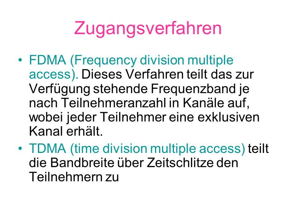 FDMA (Frequency division multiple access). Dieses Verfahren teilt das zur Verfügung stehende Frequenzband je nach Teilnehmeranzahl in Kanäle auf, wobe