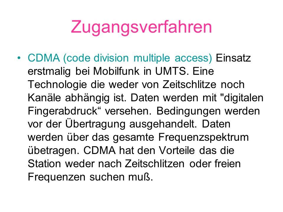 Zugangsverfahren CDMA (code division multiple access) Einsatz erstmalig bei Mobilfunk in UMTS. Eine Technologie die weder von Zeitschlitze noch Kanäle