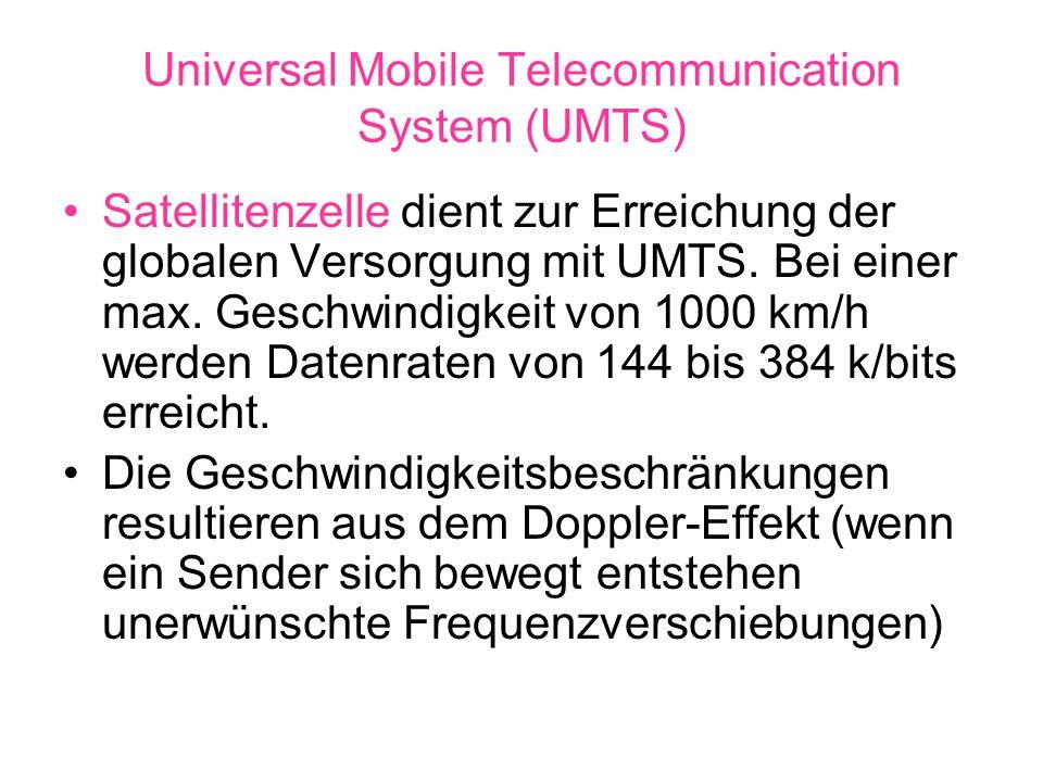 Universal Mobile Telecommunication System (UMTS) Satellitenzelle dient zur Erreichung der globalen Versorgung mit UMTS. Bei einer max. Geschwindigkeit