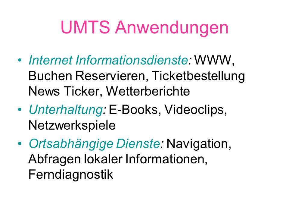 UMTS Anwendungen Finanzdienste: Onlinebanking, Homeshopping, Abfrage von Börsendiensten Kommunikation: Sprach- und Videotelefonie, E-Mail, SMS, Video Postkarten