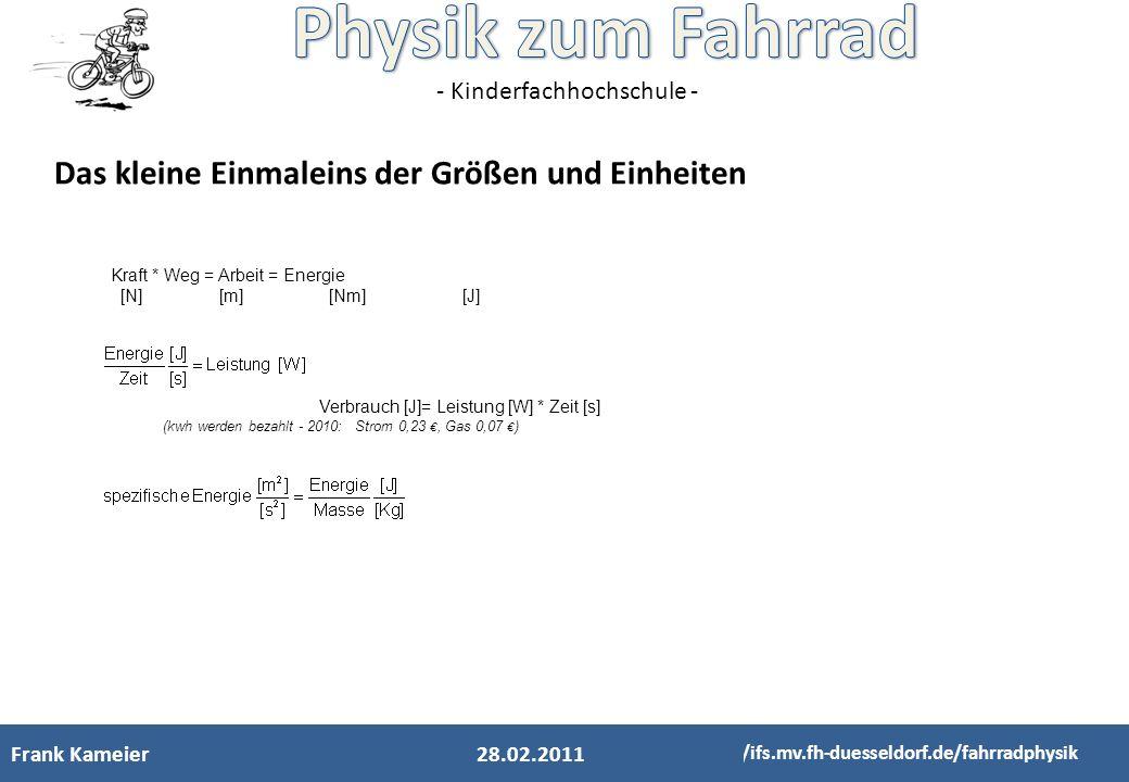 - Kinderfachhochschule - Frank Kameier http://ifs.mv.fh-duesseldorf.de/fahrradphysik 28.02.2011 Das kleine Einmaleins der Größen und Einheiten Kraft *