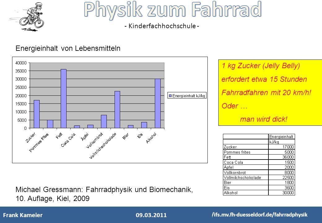- Kinderfachhochschule - Michael Gressmann: Fahrradphysik und Biomechanik, 10. Auflage, Kiel, 2009 Energieinhalt von Lebensmitteln 1 kg Zucker (Jelly