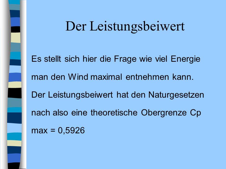 Der Leistungsbeiwert Es stellt sich hier die Frage wie viel Energie man den Wind maximal entnehmen kann. Der Leistungsbeiwert hat den Naturgesetzen na