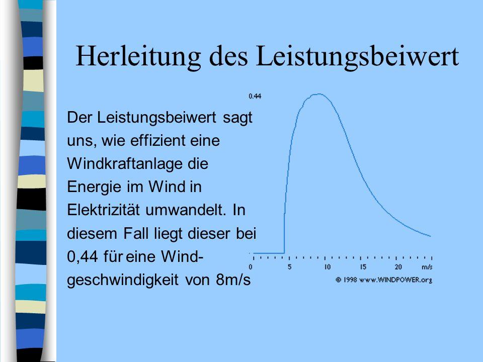 Herleitung des Leistungsbeiwert Der Leistungsbeiwert sagt uns, wie effizient eine Windkraftanlage die Energie im Wind in Elektrizität umwandelt. In di