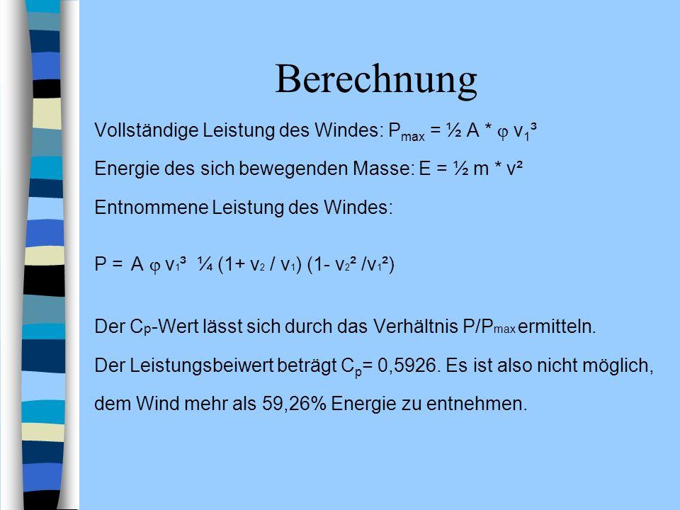 Berechnung Vollständige Leistung des Windes: P max = ½ A * ν 1 ³ Energie des sich bewegenden Masse: E = ½ m * v² Entnommene Leistung des Windes: P = A