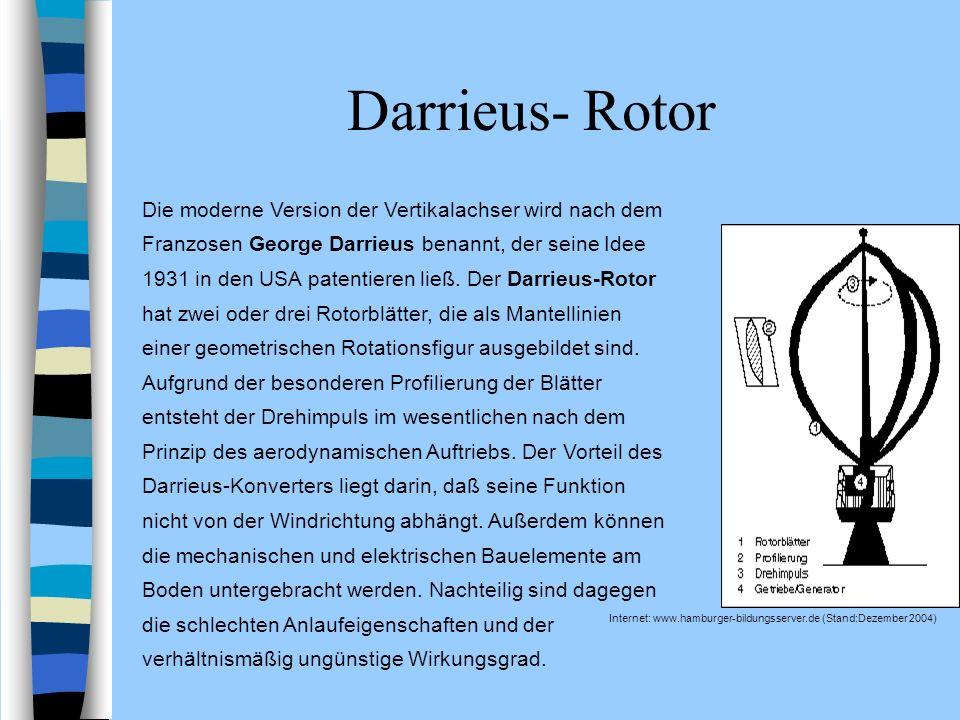 Darrieus- Rotor Internet: www.hamburger-bildungsserver.de (Stand:Dezember 2004) Die moderne Version der Vertikalachser wird nach dem Franzosen George