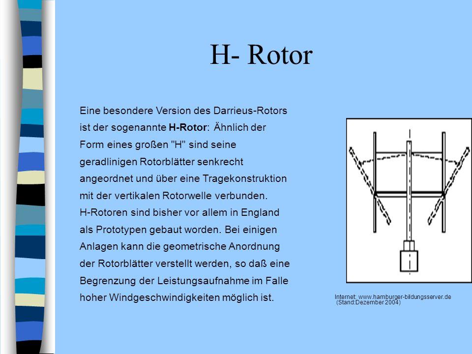 H- Rotor Internet: www.hamburger-bildungsserver.de (Stand:Dezember 2004) Eine besondere Version des Darrieus-Rotors ist der sogenannte H-Rotor: Ähnlic